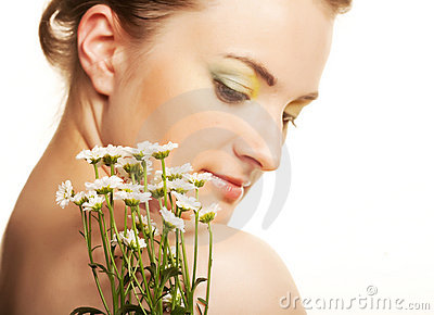 Woman Face With White Flowers Royalty Free Stock Photography - Image: 11168797
