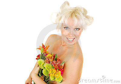 Woman with  facial makeup and autumn flowers.