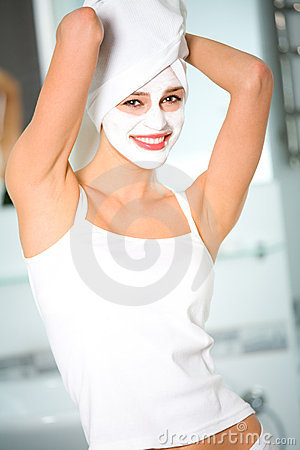 Woman with facial masque