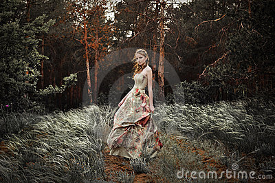 Woman in fairy forest