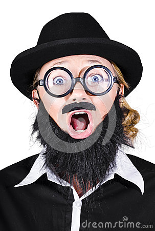 Woman With Fake Beard And Mustache Screaming