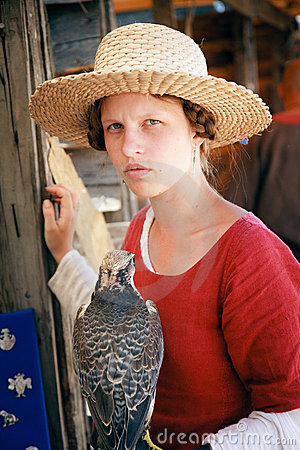 Woman and falcon Editorial Photo