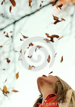 Woman Falling Leaves