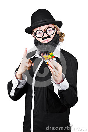 Woman With False Beard And Mustache Holding Cube Puzzle Editorial Photo