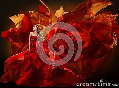 Woman Fashion Dress Flying Red Fabric, Girl Waving Silk Cloth Stock Photo