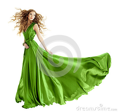 Woman fashion green gown, long evening dress