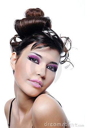 Woman fashion hairstyle and bright violet make-up