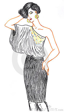 Woman and fashionable clothing, sketch