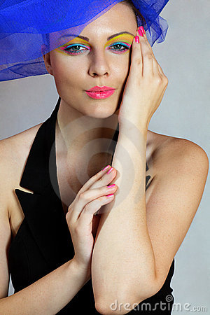 Woman in fashionable hat