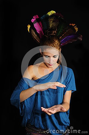 Woman with feathers on the head
