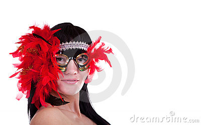 Woman with a feathery carnival mask
