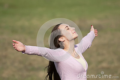 Woman feeling free in nature