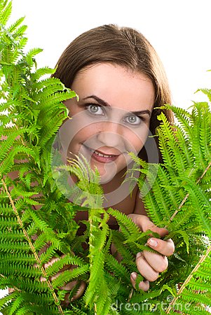 Woman with fern.