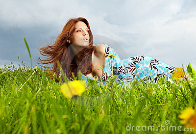 Woman on field in summer