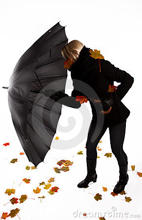 Woman fighting with wind