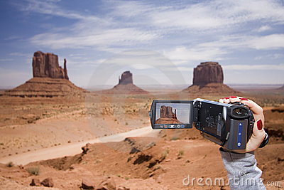 Woman filming in Monument Valley
