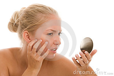Woman finding acne