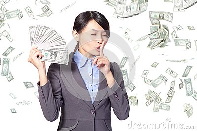 Woman finger on lips asking quiet with money