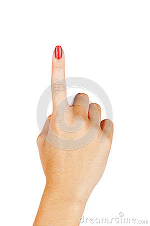 Woman finger pointing