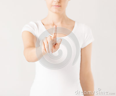 Woman with finger up