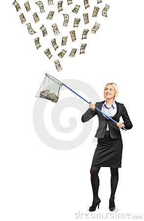 Woman with a fishing net trying to catch money