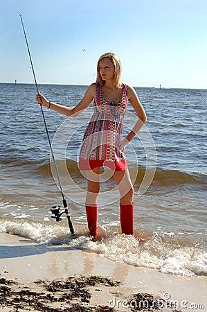 Woman fishing portrait