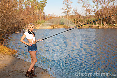 Woman Fishing In River Royalty Free Stock Photos Image