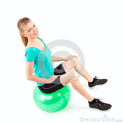 Woman fitball exercise