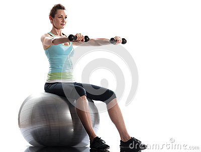 Woman fitness ball Workout Posture weigth training