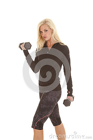 Woman fitness black outfit curls