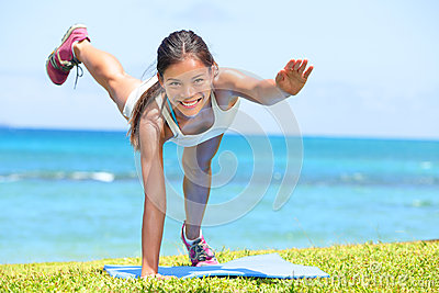 Woman fitness crossfit exercise training outdoors