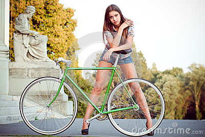 Woman with fixie bicycle