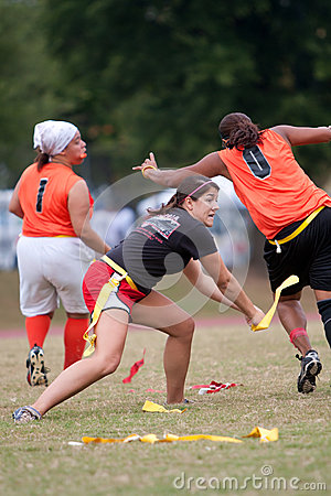 Woman Flag Football Player Practices Technique Editorial Image