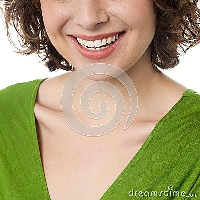 Woman flashing wide smile