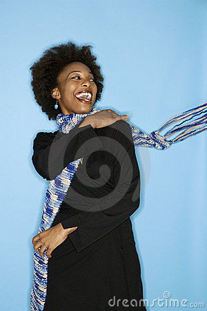Woman flinging scarf