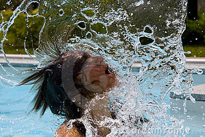 Woman flipping wet hair