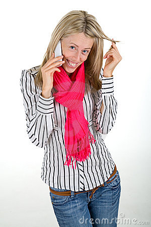 Woman flirting on a phone