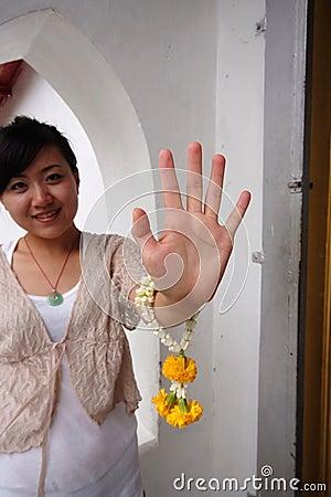 Woman with flower bracelet