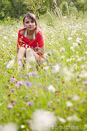 Woman in flower field