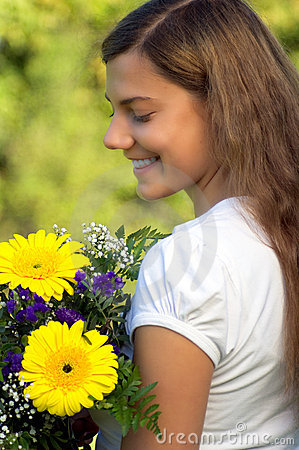 Woman flower happiness