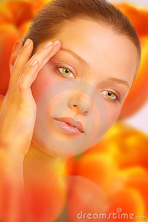 Free Woman. Flower Skin. Royalty Free Stock Photo - 591875