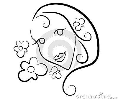 Woman Flowers Clip Art Outline Stock Photos - Image: 3234483
