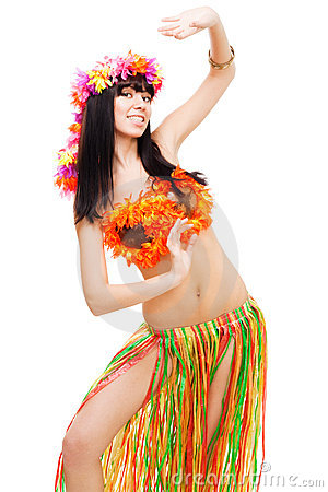 Woman in flowers costume dance