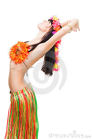 Woman in flowers costume in resting pose