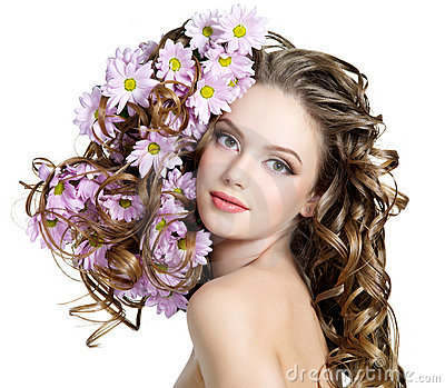 Woman with flowers in hairs