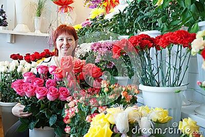 Woman in flowers shop