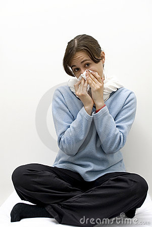 Woman with flu, allergy