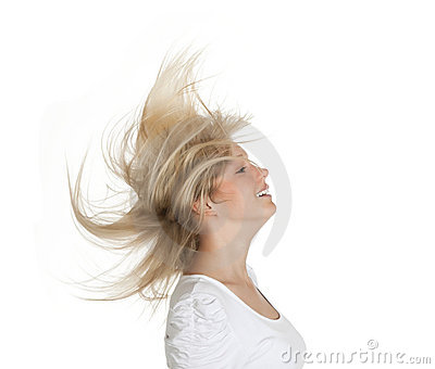 Woman with flying hairs