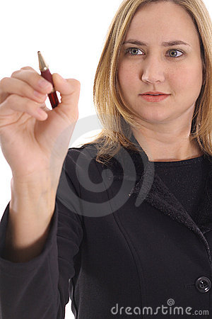 Woman focusing on pen
