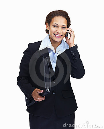 Woman with folder while using cellphone